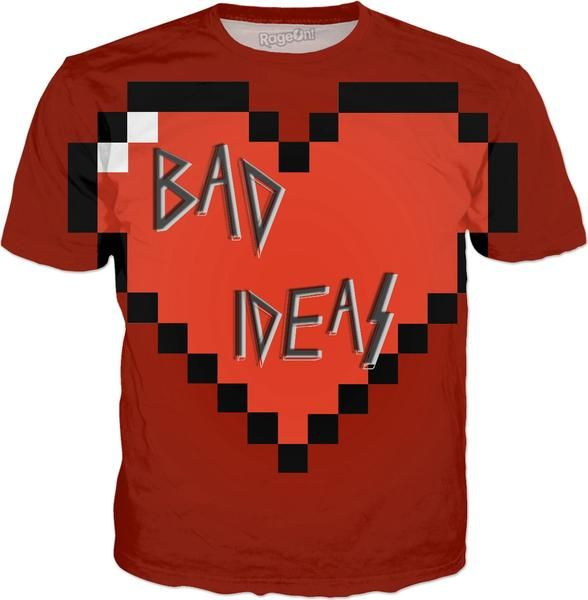 Love, BAD Ideas! All-over-print red tee shirt design v2 - Item printed by RageOn.com, also available at casemiroarts.com