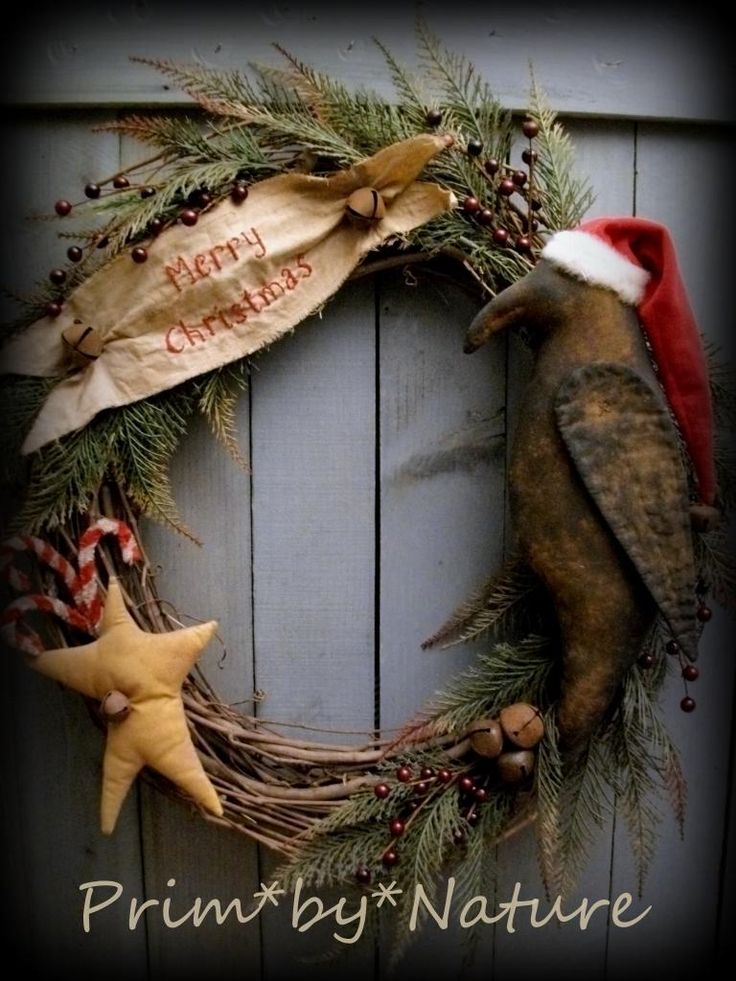 Primitive Santa Crow Christmas Wreath Red Berries Star and Candy Canes