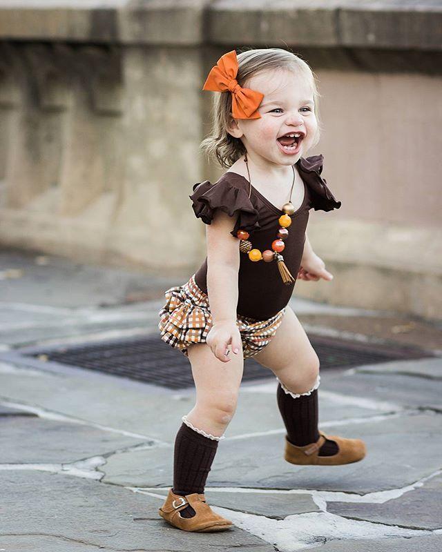 BROWN Leotard with Flutter / Ruffle Short Sleeve for Toddler & Girls