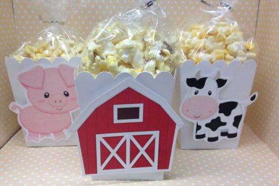 Adorable boxes can be used for popcorn, candy or other party favors for a very special farm birthday party or baby shower! Can be made with all 4 animals and barn as shown or just your favorite!  The bags and twist ties are included with the boxes, but not the popcorn. There are 10 boxes, bags and twist ties per set. If you need more please click on the quantity button.  The boxes measure 3 x 3 x 4 high and available in white, light pink, bright pink, lavender, purple, light blue, aqua, navy…