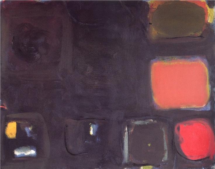 PATRICK HERON - BLACK PAINTING - RED, BROWN, OLIVE, (1959)
