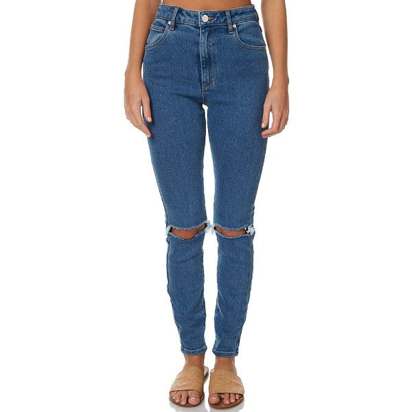 A.brand A High Skinny Ankle Basher Blue ($92) ❤ liked on Polyvore featuring jeans, blue, skinny jeans, women, high rise skinny jeans, high waisted jeans, distressed jeans and high waisted distressed jeans