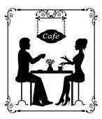 силуэты влюбленных в рамке кафе и винтаж — Cтоковый вектор