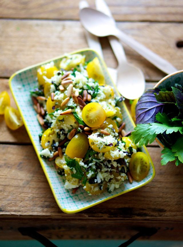 """Cauliflower """"Couscous"""" with Tomatoes, Herbs, & Pine Nuts 