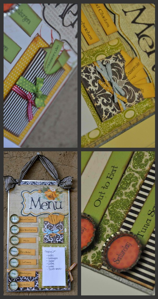 magnetic menu boards with a pouch for meal cards.