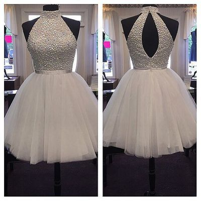 White Halter Open Back Short Beaded Homecoming Dresses, BG51444 The dresses are fully lined, 8 bones in the bodice, chest pad in the bust, lace up back or zipper back are all available. This dress cou