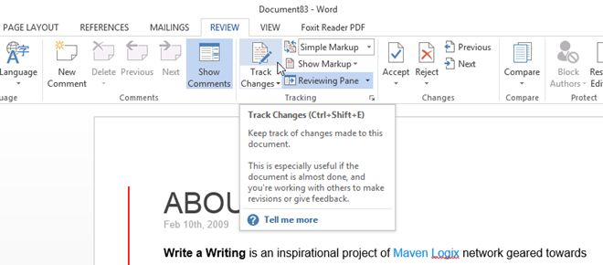 Enabling Track Changes Feature in Word 2013