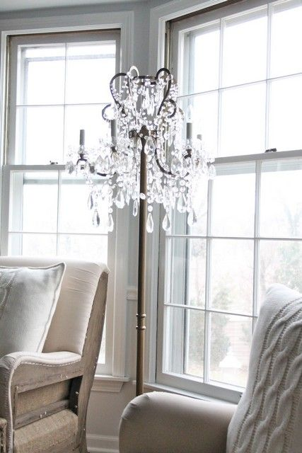 "DIY LAMPS &  LIGHTING | Floor , Chandelier floor lamp diy : Chandelier Floor Lamp Diy... WHATCHA THINK PLEASE? ""YOU LIGHT UP MY LIFE""... PLEASE BE SAFE & BE SURE THAT THE BULB IS THE PROPER SIZE AS ""NO ONE NEEDS A FIRE TO START""!"