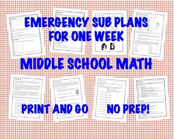 Growing bundle of 55 creative activities, plans, and resources designed for any length absence from teaching a Grade 5-9 Middle School math class or just when you need something different and fun for the day! The first and last resource for the MS math teacher!