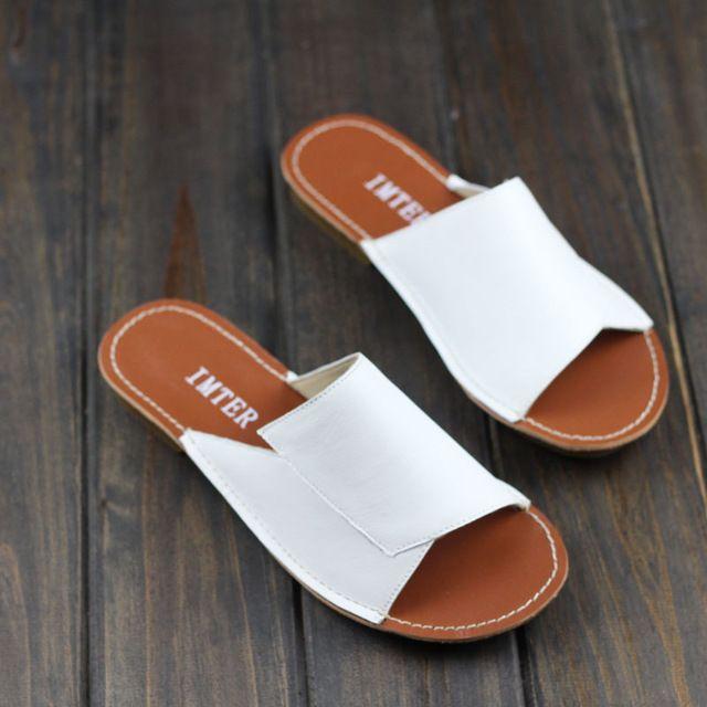 Deslizadores del Verano de las mujeres 100% Cuero Auténtico Mujeres Sandalias de Playa Diapositivas Calzado Femenino (1021-6)