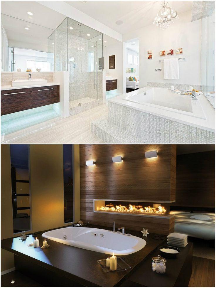 Следует помнить о том, что светлые ☀ оттенки расширяют пространство любой комнаты, в особенности ванны. Темная мебель 📦 наоборот, гармонирует с просторным помещением. А Вам какой оттенок в ванной больше 💓 нравится: светлый или темный? #дизайн #интерьер #стиль #ванная #сантехника #плитка