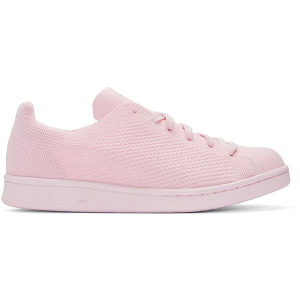 adidas Originals Pink Primeknit Stan Smith Sneakers ($110) ❤ liked on Polyvore featuring shoes, sneakers, semi pink glow, adidas originals trainers, low profile shoes, round toe shoes, lace up sneakers and rubber shoes