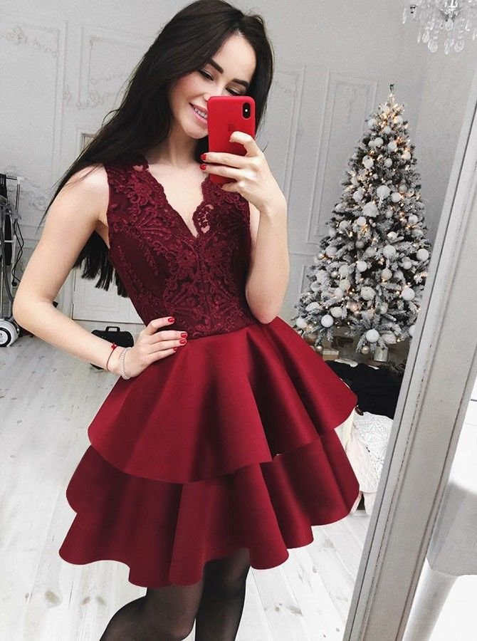 594ea5b8c8a A-Line V-Neck Sleeveless Homecoming Party Dress with Lace  burgundy   burgundydress  appliques  homecomingdress  partydress  red  women