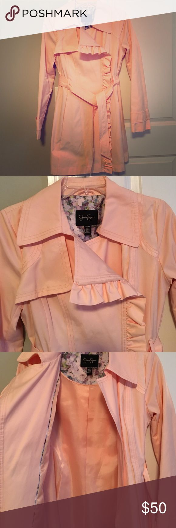 Jessica Simpson Ruffle Trench Coat Fun and Flirty Jessica Simpson Ruffle Trench Coat in a coral color. In great condition! Perfect for spring!    *comes from pet and smoke free home* Jessica Simpson Jackets & Coats Trench Coats