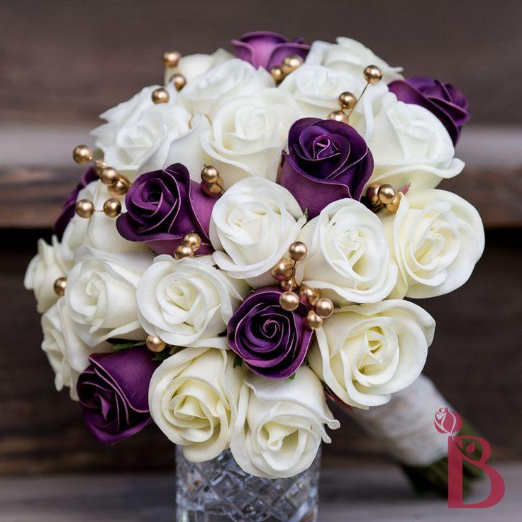 Purple Cream Gold Wedding Bouquet Rosebuds Artificial Flowers Alternative