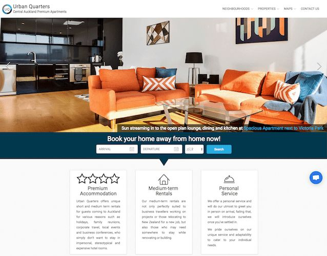 Urban Quarters - This Lodgify customer uses icons and cards to show guests, at a glance, some advantages of using their services. This makes the information very clear and coherent – great for guests who want to find out more quickly.  #vacationrentalwebsites #vacationrentals #webdesign #website