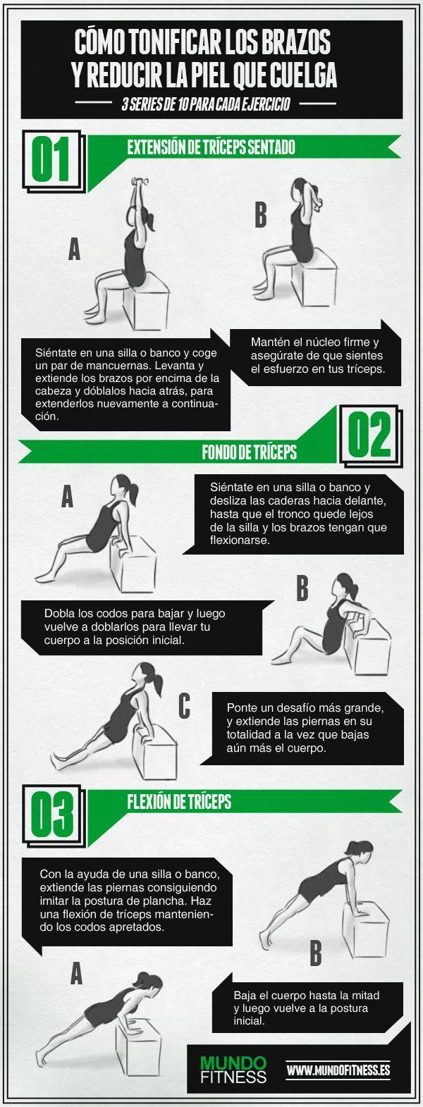 3 ejercicios sencillos para tonificar los brazos. #fitness #hiit
