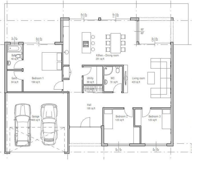 Las 25 mejores ideas sobre planos de garajes en pinterest - Plano de la casa ...