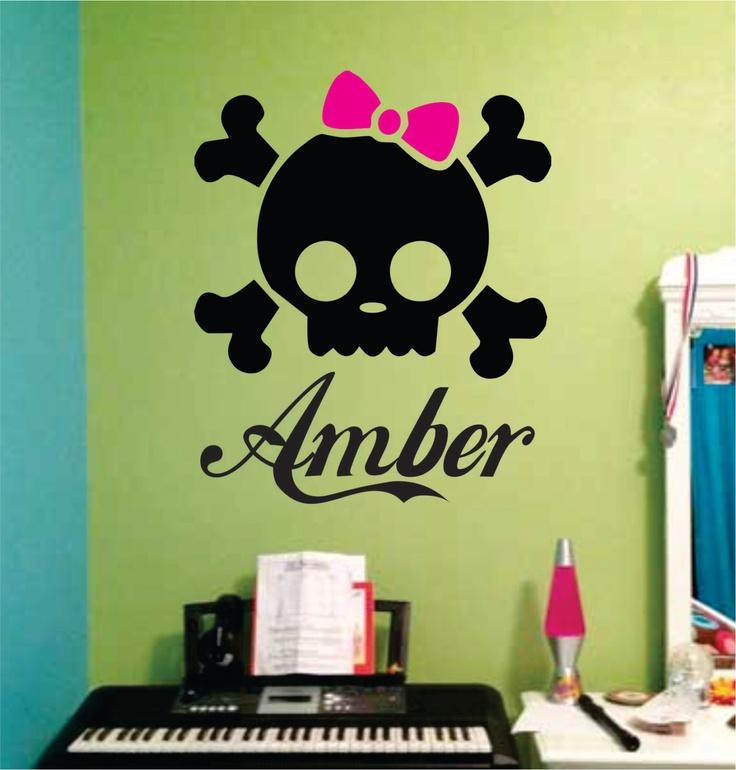 Custom Girl Skull with Bow Decal Sticker Wall girl room teen kid children. $24.00, via Etsy.