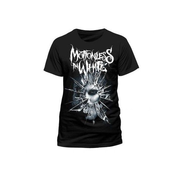 Motionless In White (Shatter) T-Shirt ❤ liked on Polyvore featuring tops, t-shirts, white top, white t shirt and white tees