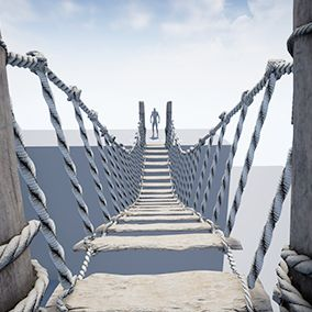 Create the Rope bridge, static or physical.