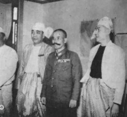 General Masakazu Kawabe with puppet state burmese leaders during his time as commander of the Japanese Burma Area Army, Rangoon 1943.