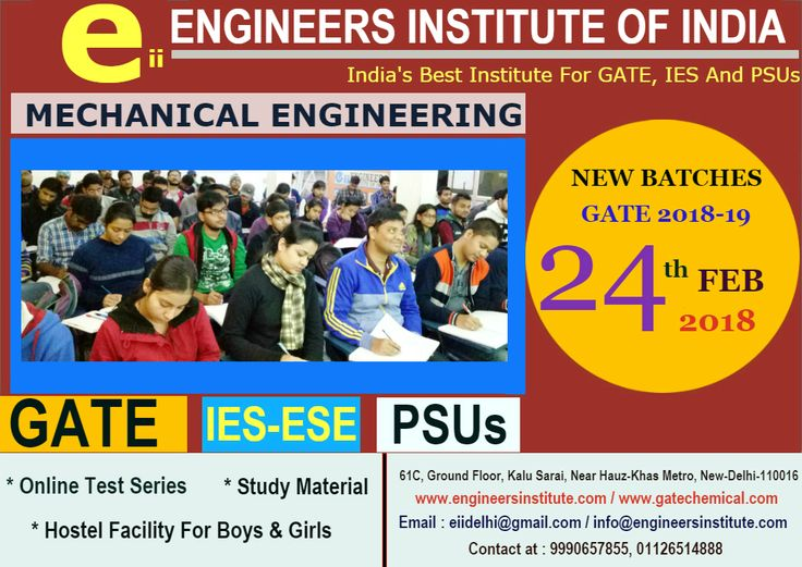 #Registration open for #New #Batches #GATE 2018-19 #Mechanical #Engineering, #Digital Classes Concept, #Demo Classes, Excellent #Faculties, Updated #Study #Material, #Doubt classes. Admission in progress, #Enrol #Today! For more contact at 9990657855 or visit here https://www.engineersinstitute.com/