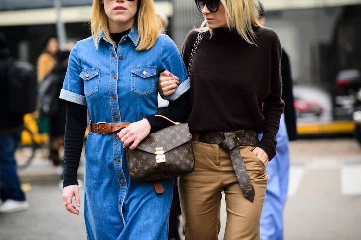 The Louis Vuitton Pochette Metis and the Tie The Knot belt were spotted on the streets of Milan during Fall 2015 #MFW - Photography by Adam Katz Sinding via @wmag