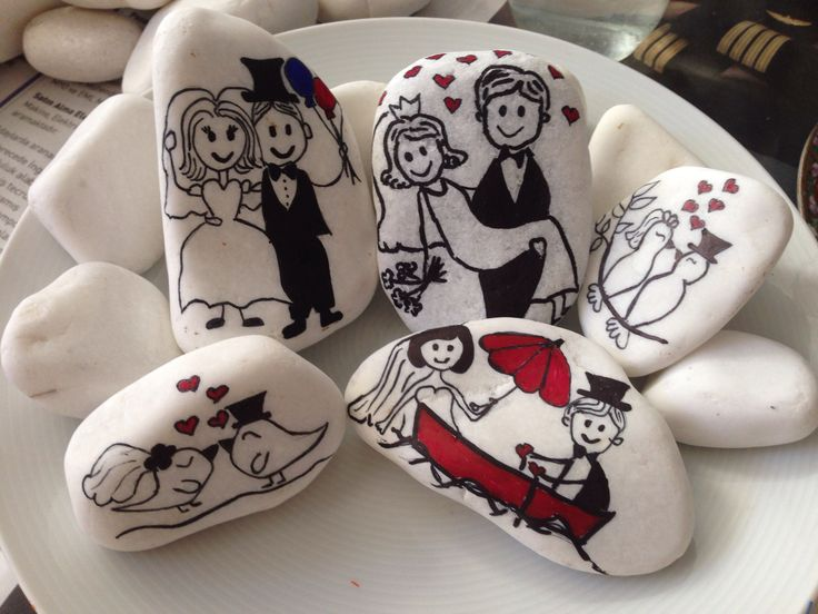 Bride & Groom stone painting