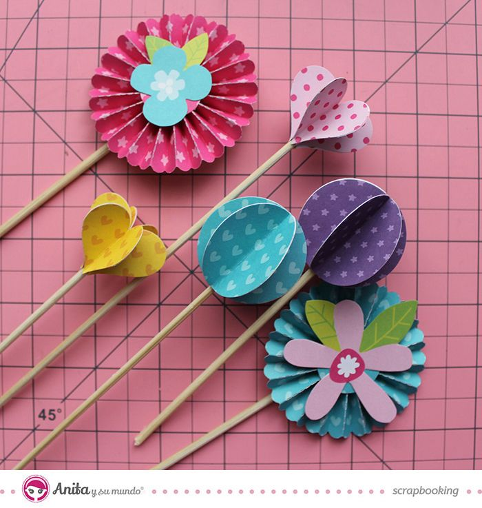 flores scrapbook - tutorial                                                                                                                                                     Más