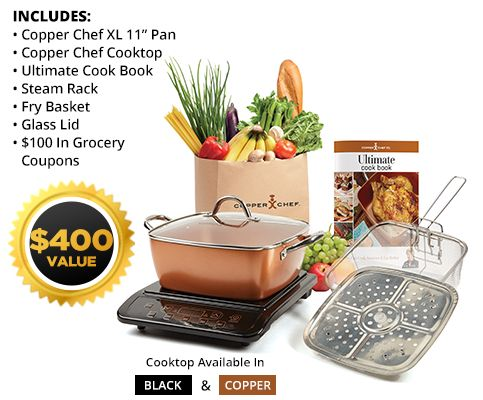 Copper Chef XL Family Size Nonstick Pan: Cook 60% More Without Added Oil   Copper Chef XL™ $99