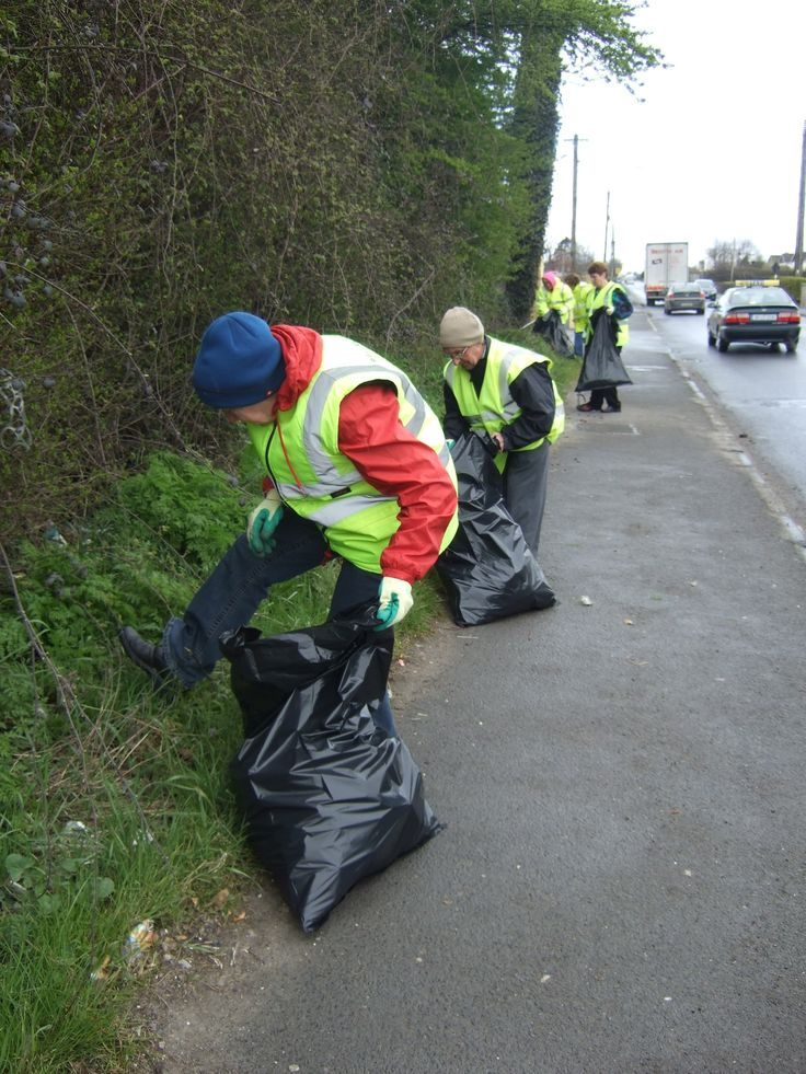Members of Portlaoise Tidy Towns cleaning up an area of the Mountmellick Road, Portlaoise, Co. Laois