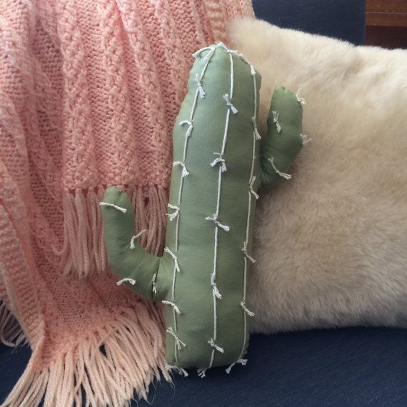 Sage Green Cactus Pillow by TheRosyRedFox on Etsy