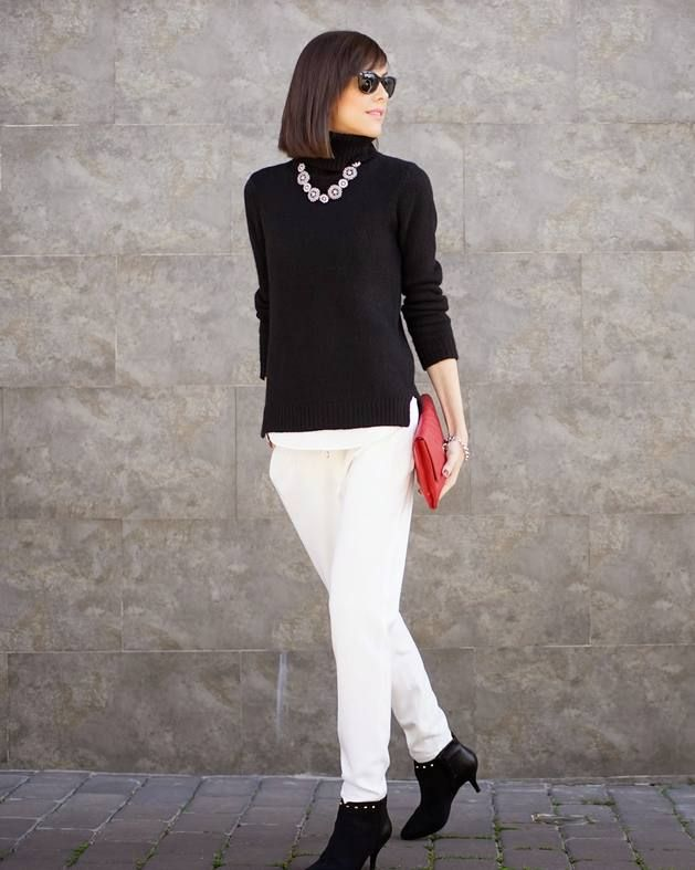 Boyfriend Coat  #Winter Urban Chic Look #Betrench Women Streetstyle #Black White Red Outfit #Crystal Necklace #Black Knit Turtleneck #Red Structured Clutch #Massimo Dutti White Pants #Studded Leather Suede Ankle-Boots