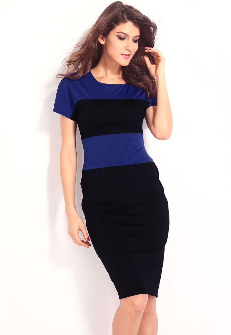 Robes Midi Bleu Style Color Block Stripe Robe Crayon Pas Cher www.modebuy.com @Modebuy #Modebuy #Bleu #Bleu #robes #me