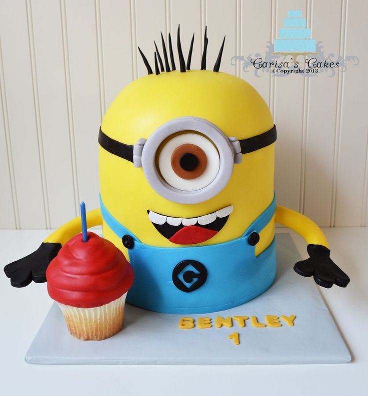 Made for one of my best friends cute little boy who turned 1! He loves the movie Despicable Me. White cake and jumbo cupcake with vanilla buttercream covered in fondant.