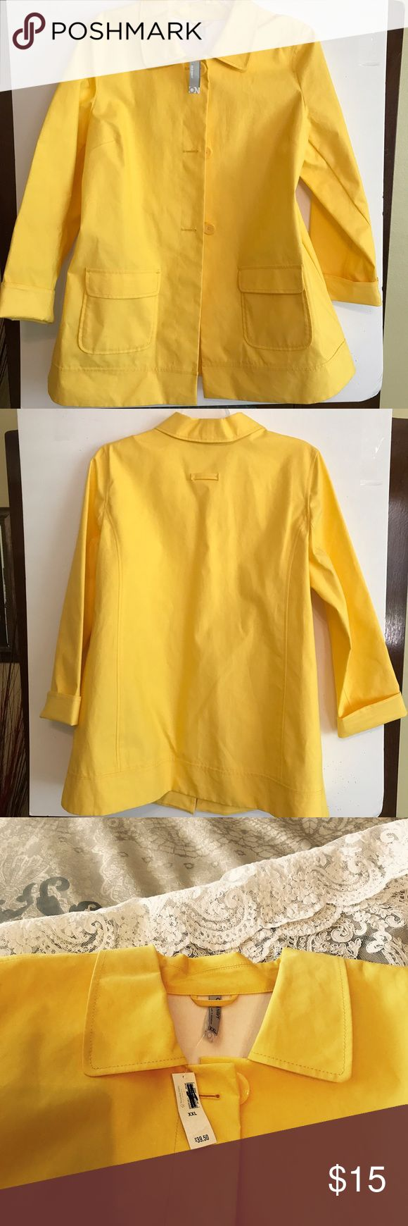 Yellow Old Navy rain coat NWT bright yellow unlined Old Navy rain coat.  This would be 3/4 length on most people.  Patch pockets with flaps on front, sleeves have cuffs.  Buttons down the front.  Perfect condition.  No odors and non smoking home. Old Navy Jackets & Coats Trench Coats
