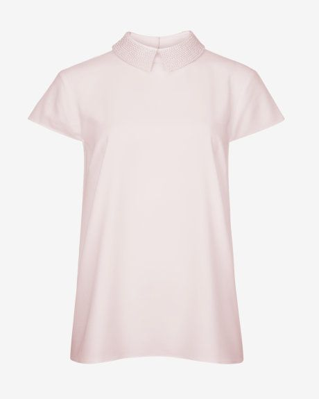 Embellished collar top - Nude Pink | Tops & Tees | Ted Baker