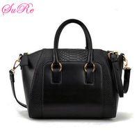 Women Vintage PU Leather Bags Crocodile Veins Totes Simple Handbags
