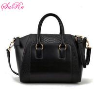 Women Vintage PU Leather Bags Crocodile Veins Totes Simple Handbags