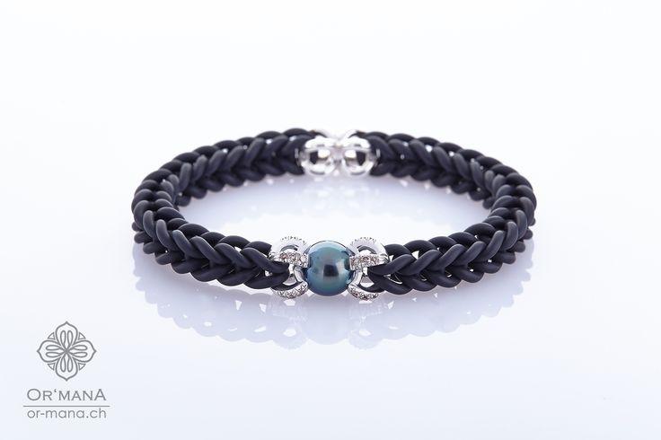 Kautschuk-Armband by KAIRIS.swiss mit Tahiti-Perle und Diamanten