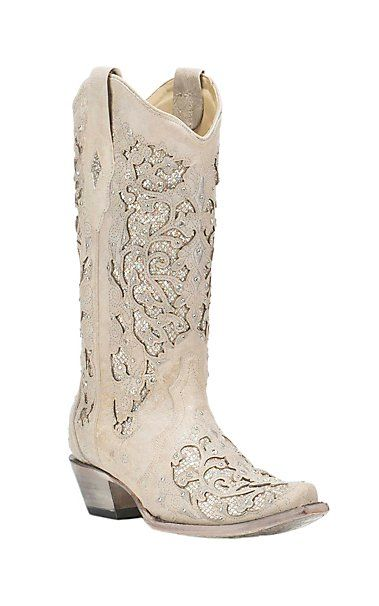 Corral Boot Company Women's White with Glitter Inlay Western Snip Toe Boots | Cavender's
