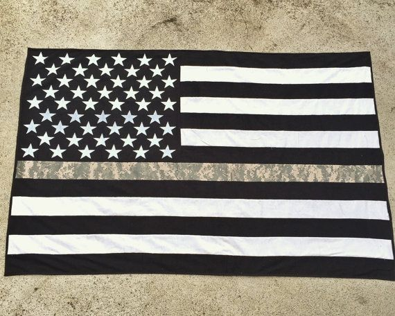 AMERICAN FLAG QUILT | US Army Thin Line American Flag Throw-Blanket-US:  a nice gift for any current or former soldier. | by ZabesQuilts on Etsy.com