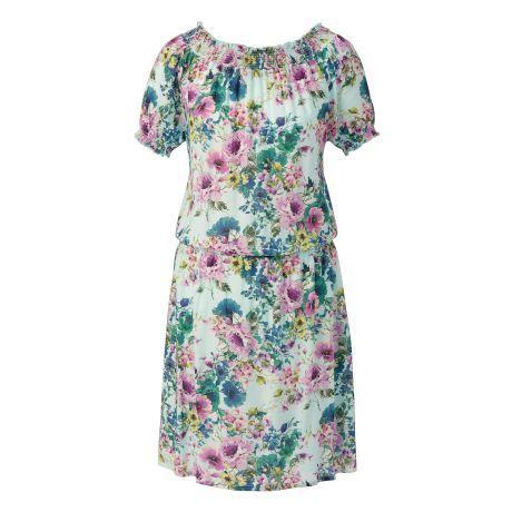 Geblümtes Kleid im romantischen Look mit Carmenausschnitt.