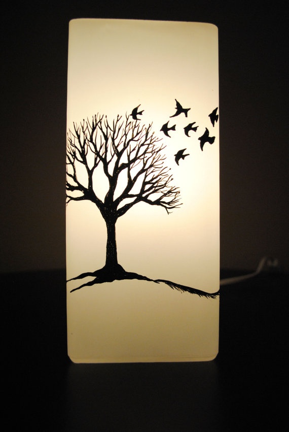 Winter Tree And Birds Silhouette Lamp By Natureaura On