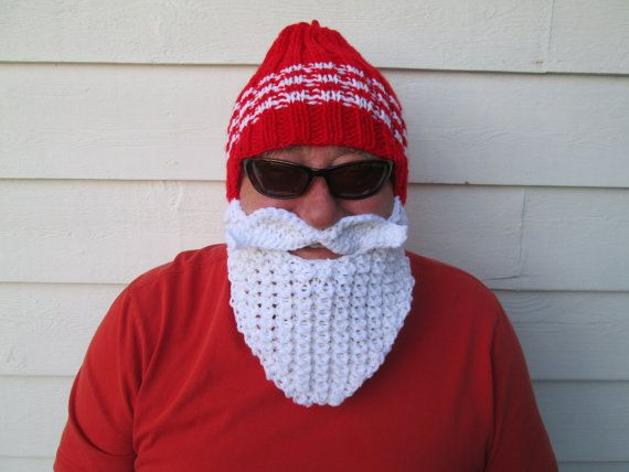 Santa bearded hat Beard hat Beard Beanie Wild Man Bearded Hat Knitted Beard Hat,viking hat Birthday gift mütze männer Adult Size  Unisex