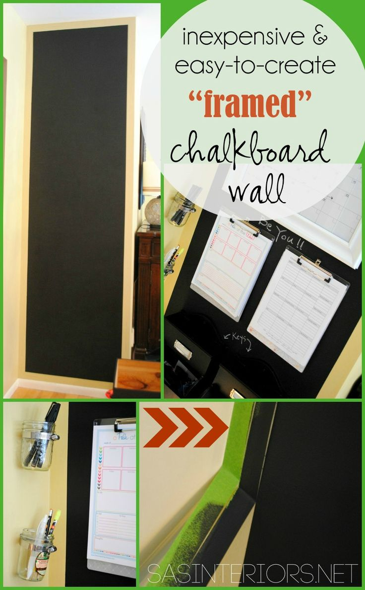"""Inexpensive & Easy-To-Create """"Framed"""" Chalkboard Wall using @frogtape by @Jenna_Burger, SASinteriors.net"""