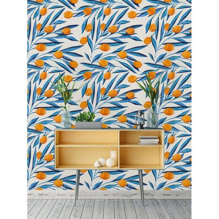 Santamonica Removable Leave And Kumquat 4 17 L X 25 W Peel And Stick Wallpaper Roll Peel And Stick Wallpaper Removable Wallpaper Wallpaper Roll