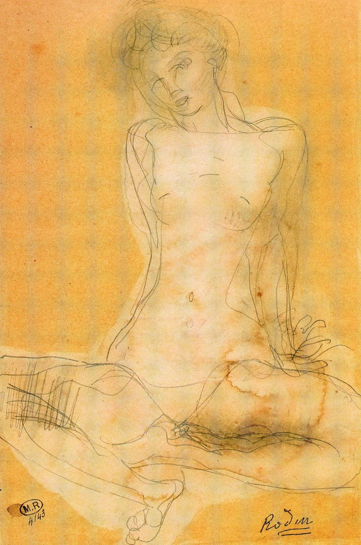 Auguste Rodin, Seated Woman, Watercolour and Stump, Musee Rodin, Paris Similar to Gustav Klimts intimate sketches of women. beautiful