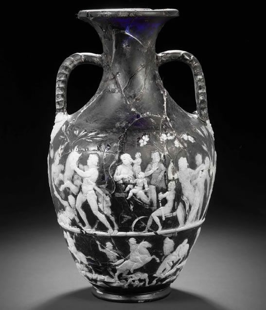 This is, to date, the only complete Roman cameo glass vase found.  It dates from somewhere between the first century B.C. and the first century A.D., and stands a dramatic 13 inches (33.5 cm) high.  This complete vase has 30 figures, compared to the 7 figures on the Portland vase.